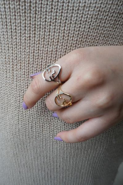 Face Ring (Gold or Silver)