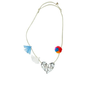 Chelsea Crystal Heart- Kids Pom Pom Necklace