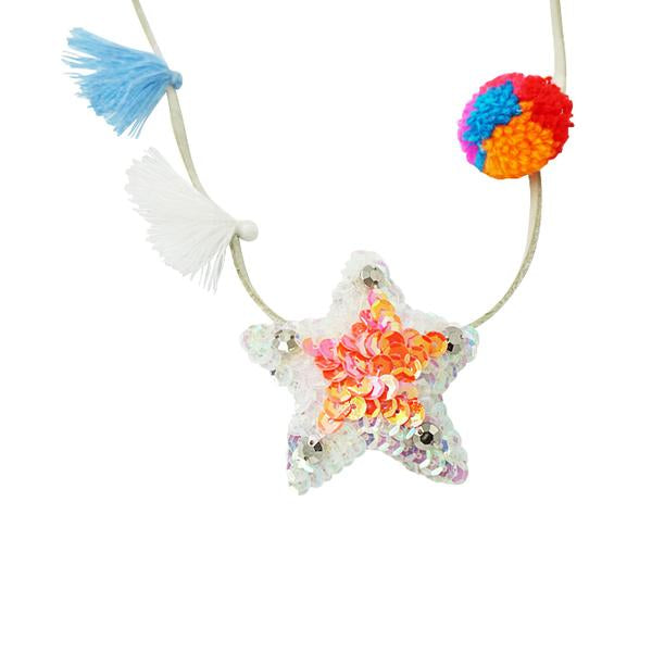 Hampton Pink Star Kids Pom Pom Necklace