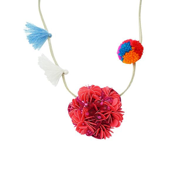 Noho Pink Flower Kids Pom Pom Necklace