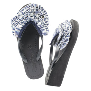 Rockaway Triple - Women's Mid Wedge, Navy, White, Ribbon, Bow
