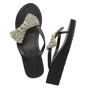 Madison - Women's Mid Wedge, Bow, Ribbon, Crystal