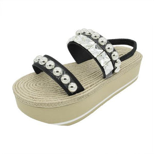 Crystal and Studs - Waterproof Espadrille Platform