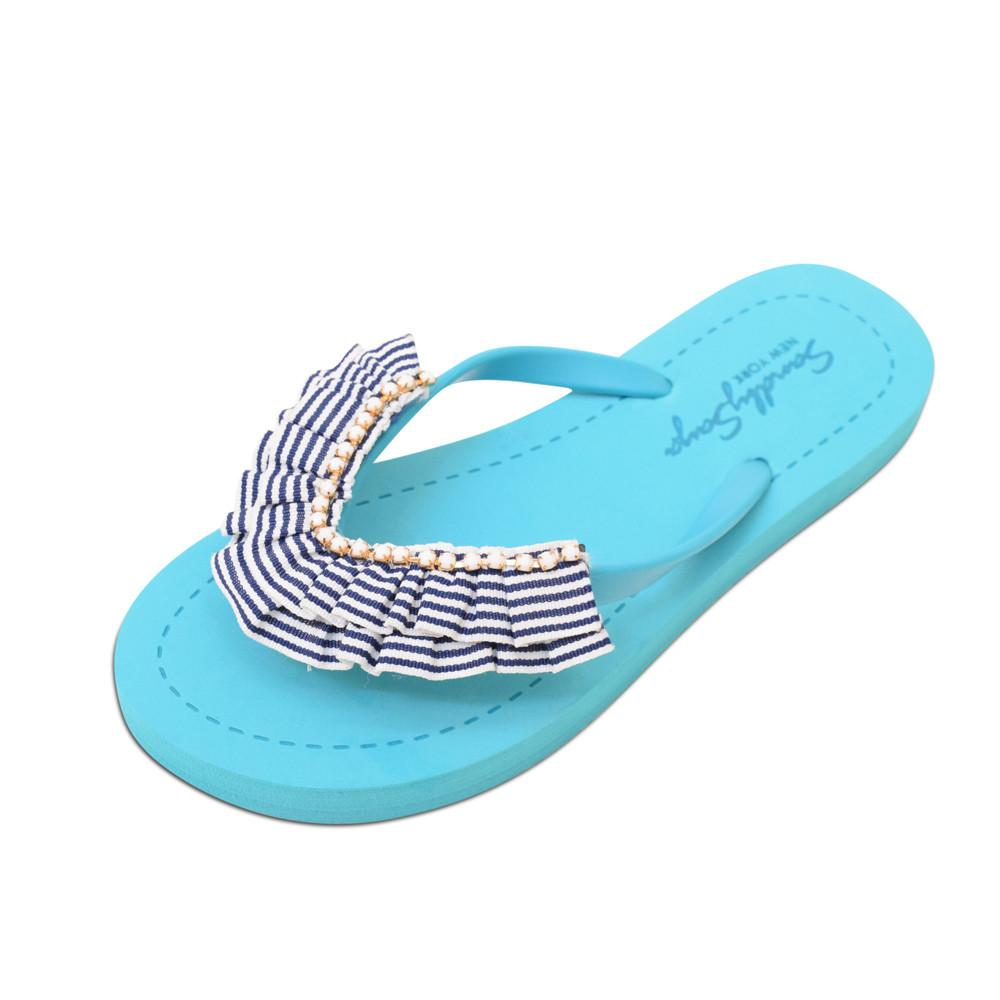 Blue Women's flat Sandals with Rockaway, Flip Flops summer