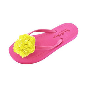 Pink Women's Flat Sandals with Yellow Noho, Flip Flops summer