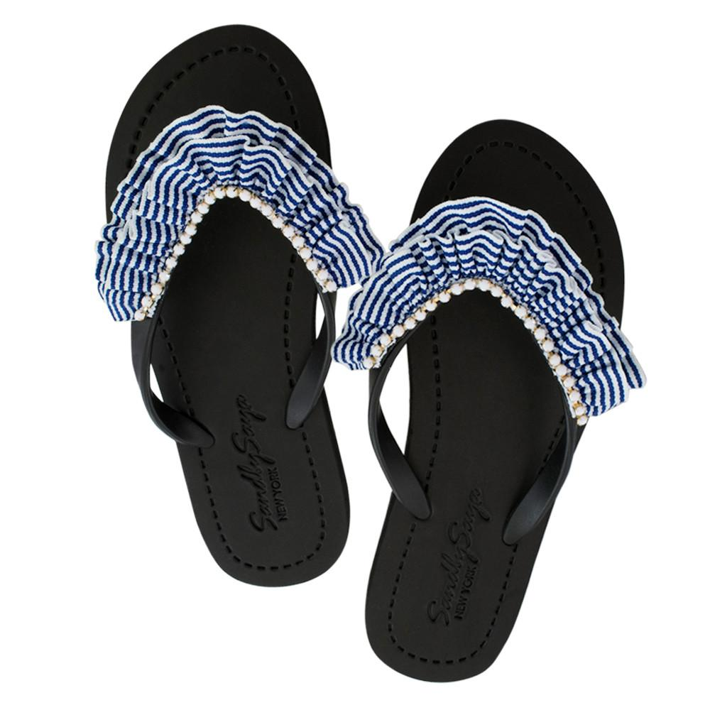 Black Women's flat Sandals with Rockaway, Flip Flops summer