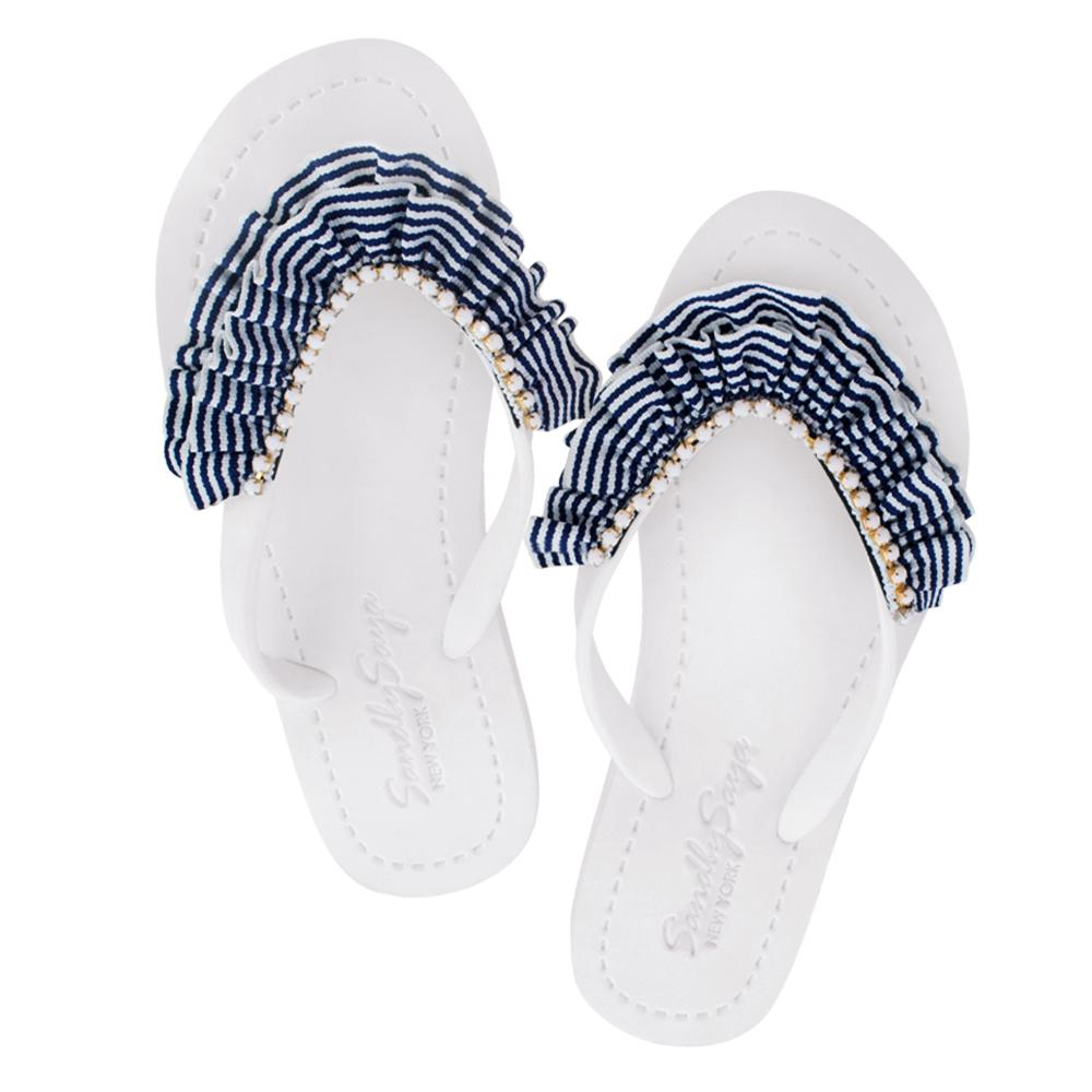 White Women's flat Sandals with Rockaway, Flip Flops summer