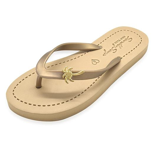 Gold Palm Tree - Women's Flat Sandal