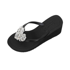 High Wedge Women's sandals - Crystal Chelsea Heart