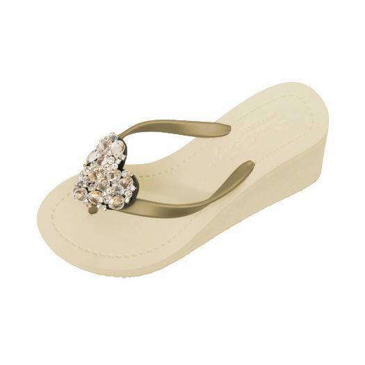 Gold High Wedge Women's Sandals with Crystal Chelsea Heart Lovely Embellishment