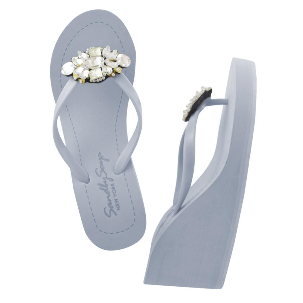 Mulberry - Women's High Wedge sandals, crystal studs, stones