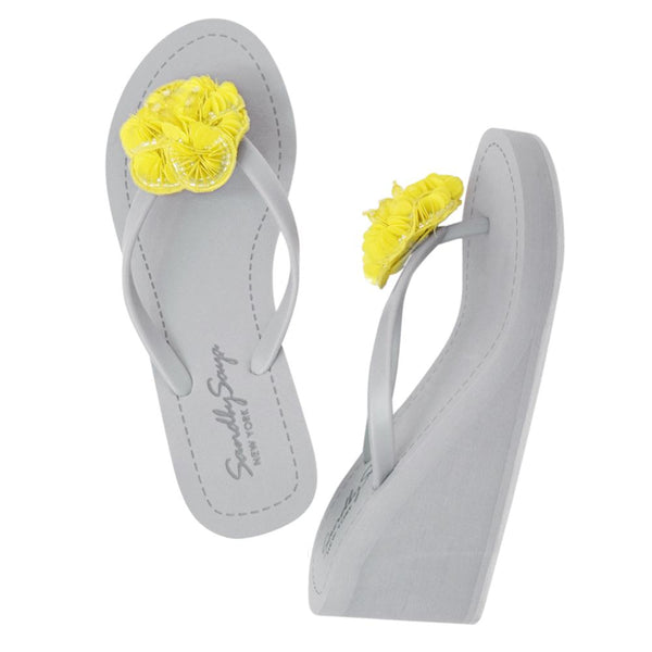 Noho (Yellow Flower) - Women's High Wedge Matte