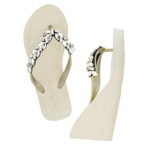 Greenwich - Women's High Wedge sandals, crystal studs
