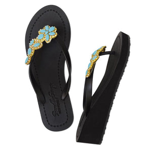 Brooklyn - Women's Mid Wedge, Blue Turquoise, Flower
