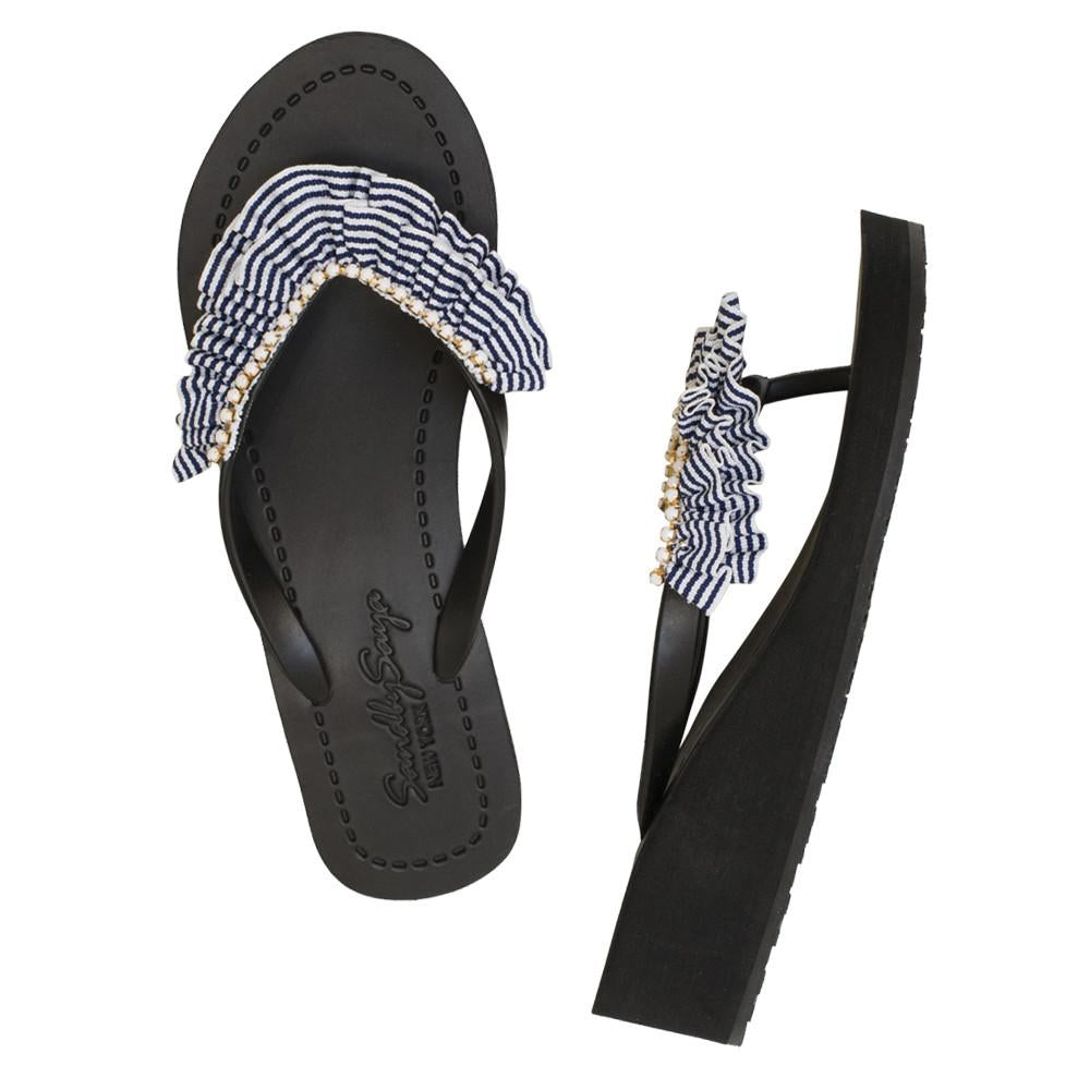 Black Women's Mid Wedge Sandals with Rockaway, Flip Flops summer