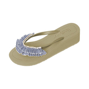 Gold Women's Mid Wedge Sandals with Rockaway, Flip Flops summer