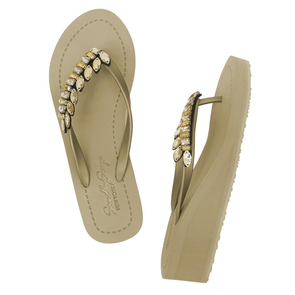 Gold Women's Mid heels Sandals with Smith, Flip Flops summer