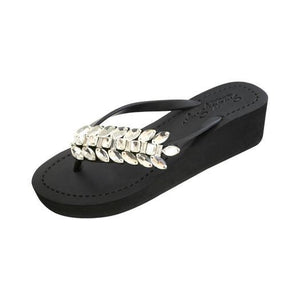 Black Women's mid heels Sandals with Smith Double, Flip Flops summer