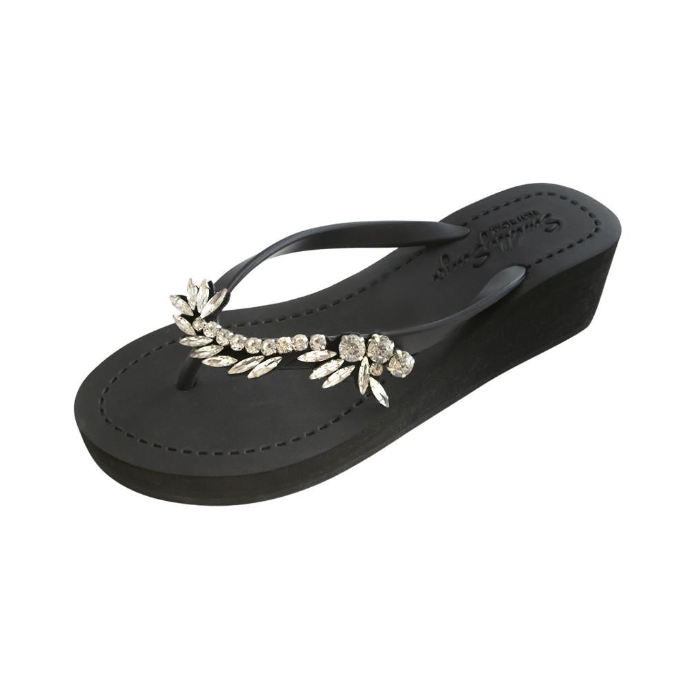 Black Women's Mid Wedge Sandals with Nomad, Flip Flops summer