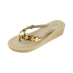 Gold Women's Mid Wedge Sandals with Orange Sunset Park, Flip Flops summer