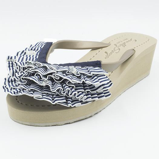 Marine Stripe Ruffle - Triple Rockaway - Women's Mid Wedge