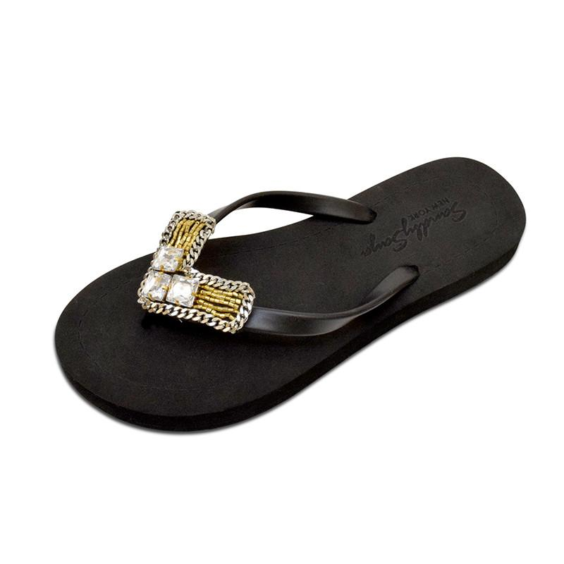 Black Flat Women's Sandals with Williamsburg