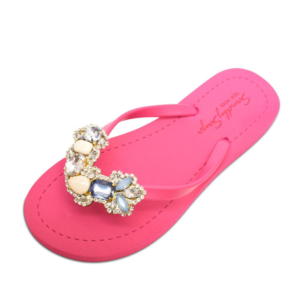 Pink Women's Flat Sandals with York, Flip Flops summer