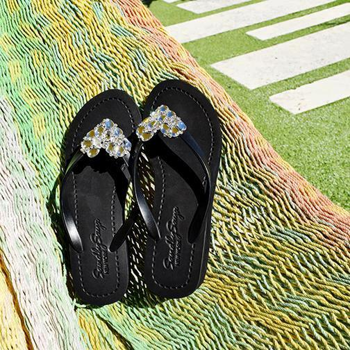 Black Mid Heels Women's Sandals with Crystal Chelsea Heart Lovely Embellishment
