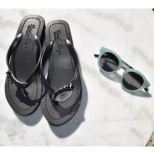 Black Women's Mid heels Sandals with Eyes, Flip Flops summer
