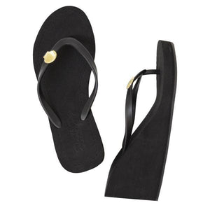 Gold shell black high wedge sandals