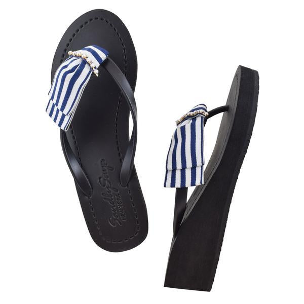 Marine Park - Women's Mid Wedge, Blue, White, Ribbon