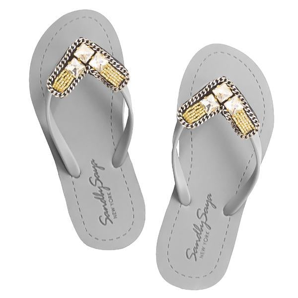 Williamsburg - Women's Flat Sandal, Gold, Beaded, Crystal