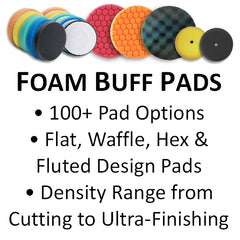 Foam Buff Pads, Flat, Hex & Waffle Face, Heavy Cutting to Ultra-Finishing
