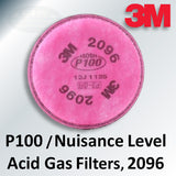 3M P100 Filters with Nuisance Level Acid Gas Relief, 2096