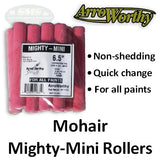 "ArroWorthy Mighty Mini Mohair 6.5"" Size, 3/16"" Nap Roller Covers, 10-Pack, 6.5-BMCK"