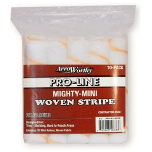 "ArroWorthy Mighty Mini Woven Stripe 6.5"" Size 3/8"" Nap Roller Cover, 10-Pack, 6.5-WL3CK"