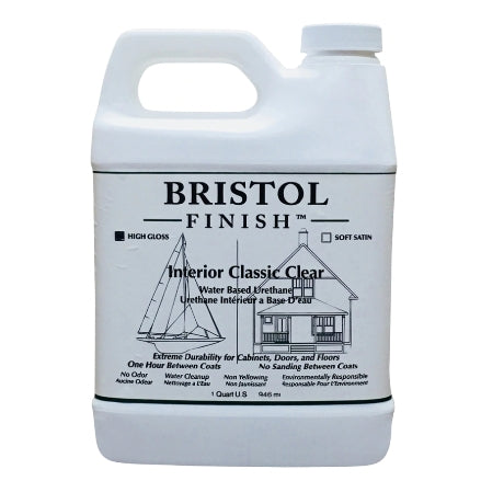 Bristol Finish Classic Clear High Gloss Interior Urethane Wood Finish, 1 Qt, BF-HGQCW