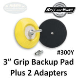 "Buff & Shine 3"" Backup Pad, Flex Edge with Adapters Kit, 300Y"