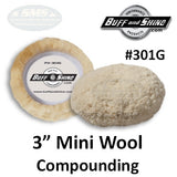 "Buff & Shine 3"" Wool Grip Buff Pad, Compounding, 2-Pack, 301G"