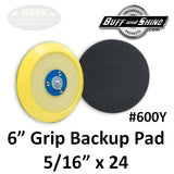 "Buff & Shine 6"" Backup Pad, Center Ring Style with Flex Edge for DA, 600Y"