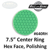 "Buff & Shine 7.5"" Center Ring Foam Hex-Face Buff Pad, Polishing, 640RH"