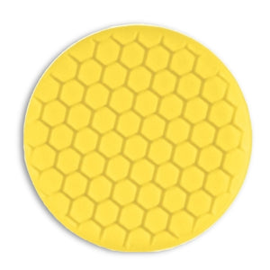 "Buff & Shine 7.5"" Center Ring Yellow Foam Hex-Face Buff Pad, Medium Cutting, 630RH"