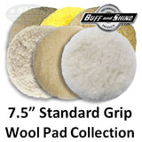 "Buff and Shine 7.5"" Standard Grip Wool Buff Pad Collection"