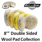 "Buff & Shine 8"" Double Sided Wool Buff Pad Collection"