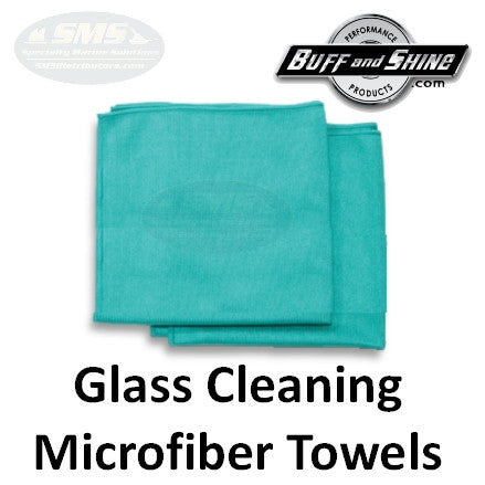 Buff and shine microfiber glass cleaning towels cleans for Glass cleaning towels