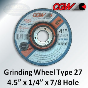"Fast Cut 4.5"" x 1/4"" x 7/8-Hole Type 27 Grinding Wheels, 36255"