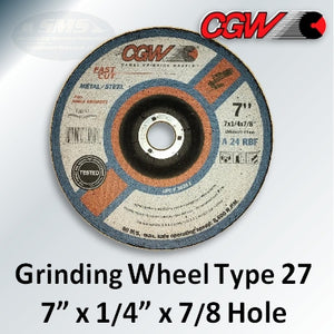 "Fast Cut 7"" x 1/4"" x 7/8-Hole Type 27 Grinding Wheels, 36261"