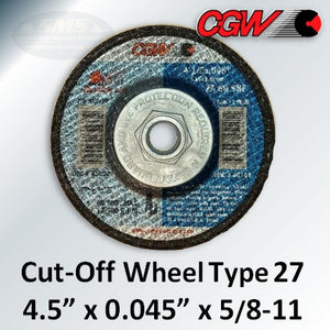 "Quickie-Cut 4.5"" x 0.045"" x 5/8""-11, Type 27 Cut-Off Wheels, Box of 10 Discs, 45141"