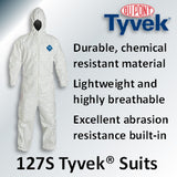 DuPont Tyvek 127S Hooded Protective Coveralls