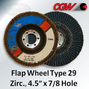 "Flap Wheel, Zirconium, Type 29, 4.5"" x 7/8""-Hole"